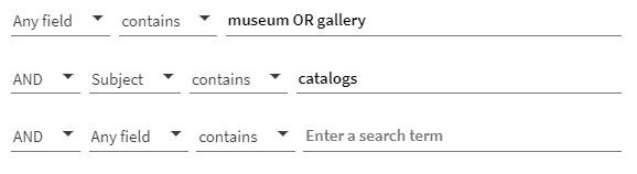 """A screenshot of a Quest advanced search, showing the words """"museum OR gallery"""" in the first field and the subject term """"catalogs"""" in the second field"""