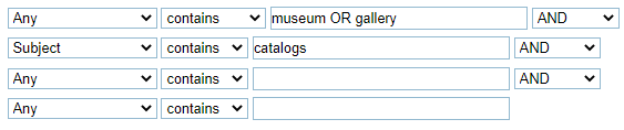 """A screenshot of the Quest Advanced search screen. In the first box are the words """"museum OR gallery"""". In the second box, which is connected by the word AND, is the word """"catalogs"""". The drop-down menu for the second line is set to Subject."""