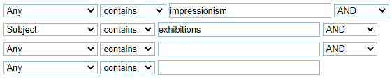 """A screenshot of the Quest Advanced Search screen. The first line reads """"Any contains impressionism."""" The second line, connected by AND, reads """"Subjects contains exhibitions."""""""
