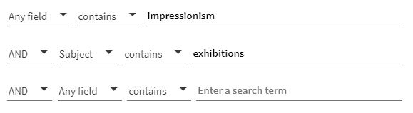 """A screenshot of a Quest advanced search, showing the word """"impressionism"""" in the first field and the Subject term """"exhibitions"""" in the second field"""