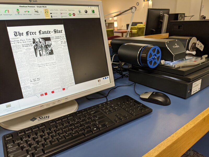One of the library's microfilm readers, displaying a page from the Free Lance-Star