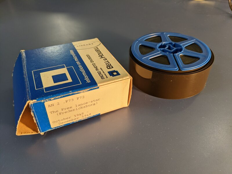 A reel of microfilm of the Free Lance-Star