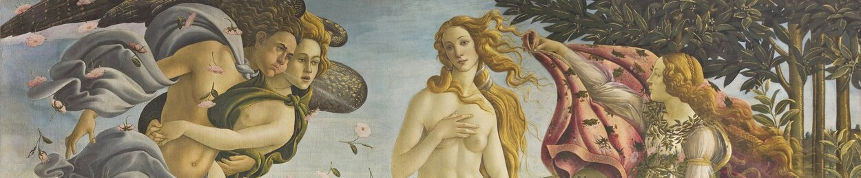A section of a painting depicting the birth of the goddess Venus