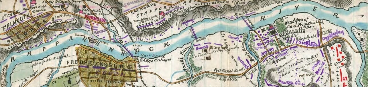 A hand-drawn map of the Battle of Fredericksburg