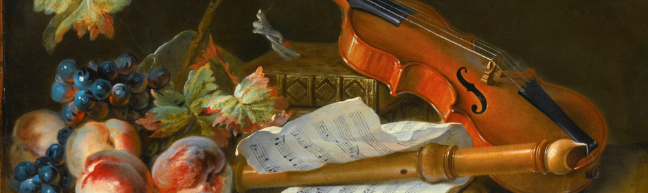 A painting that shows several musical instruments on a table with fruit