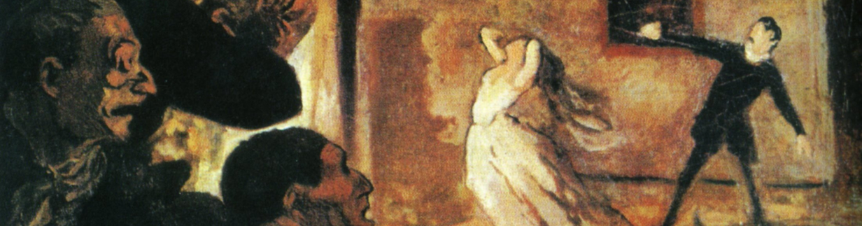 Detail of a painting that shows a theater production, with two actors at right and several excited audience members at left