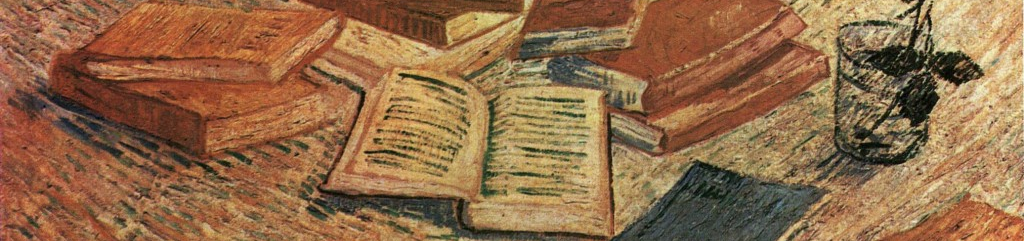 Detail of a painting by Van Gogh that shows books on a floor, next to a rose in a glass of water