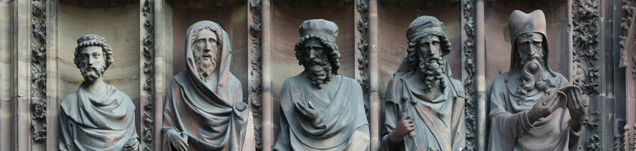 A close-up view of statues at Strasbourg Cathedral