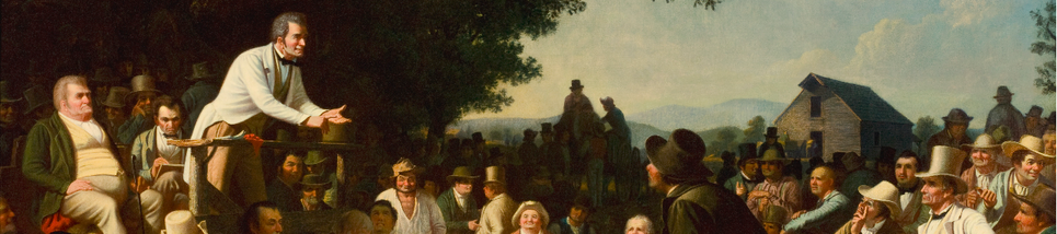 A section of a painting, showing a 19th-century politician addressing a crowd