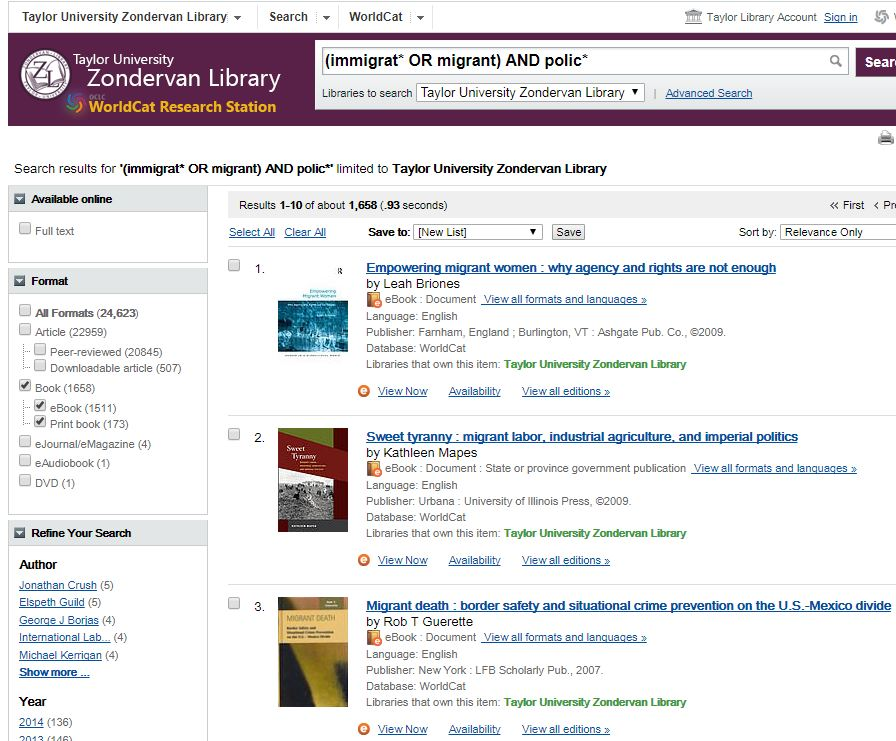 WorldCat complex search with limit for books only in Zondervan Library