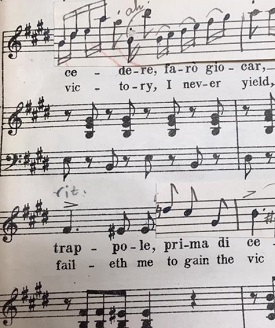 portion of soprano aria showing melodic variants pasted in, Volta la terrea from Verid's Ballo