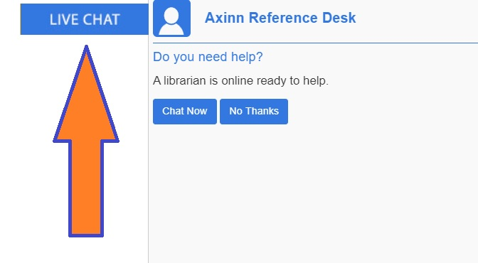 LIVE CHAT FROM LIBRARY HOME PAGE