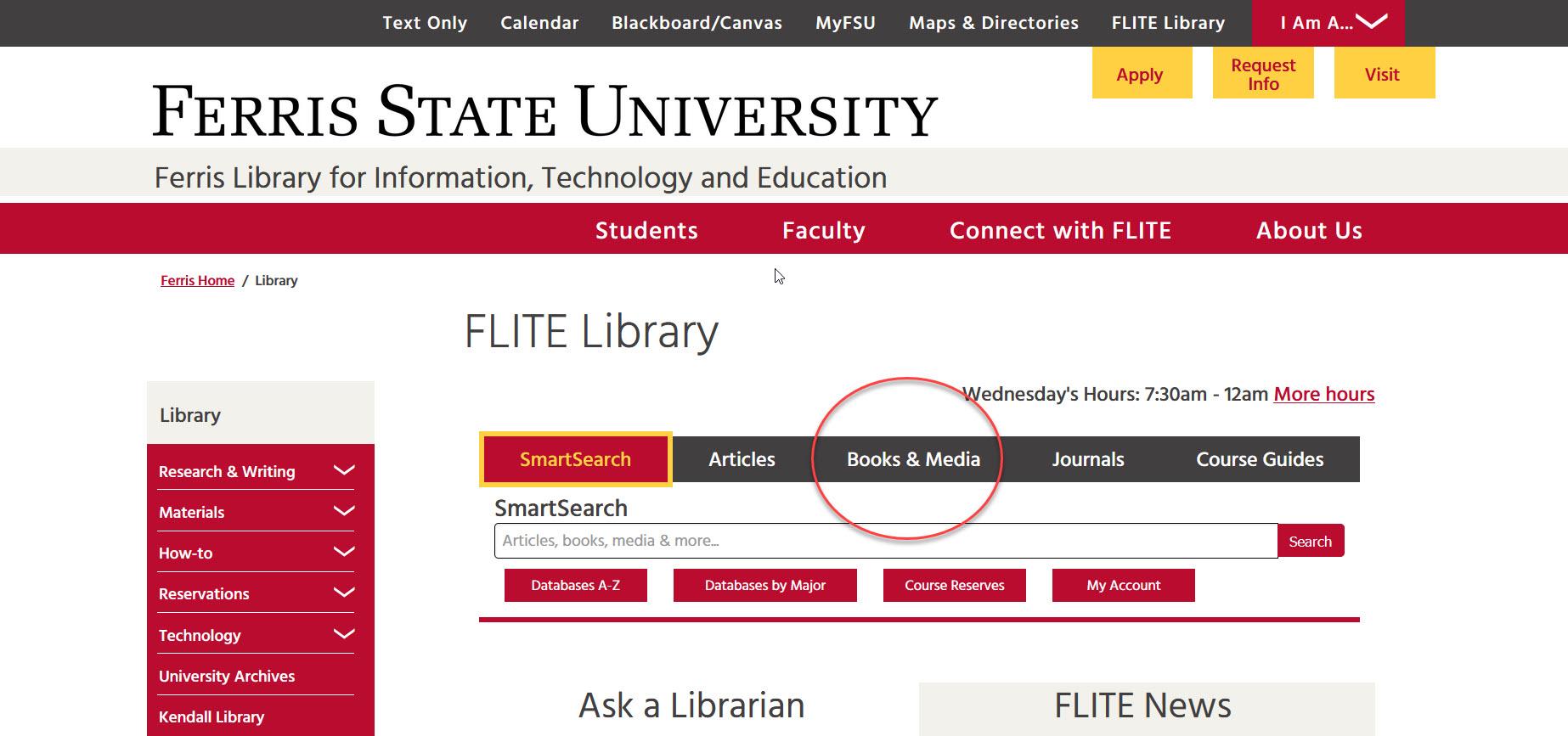FLITE homepage highlighting Books & Media tab