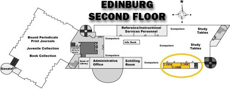 UTRGV Edinburg Library 2nd Floor Study Rooms