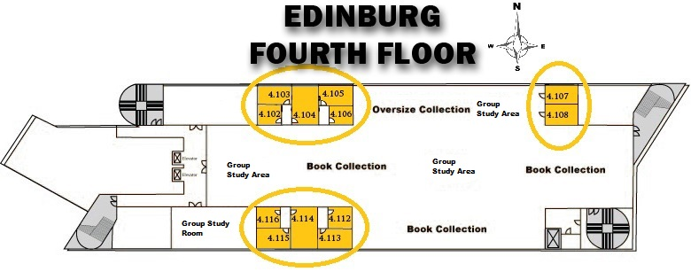 UTRGV Edinburg Library 4th Floor Study Rooms