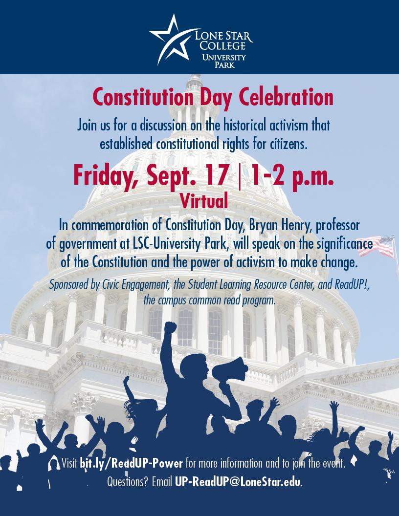 Flyer for Constitution Day Celebration, Sept 17 at 1pm