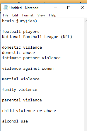 List of possible search terms for domestic violence and sports