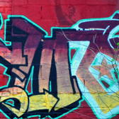 Photo of a snippet of colorful graffiti