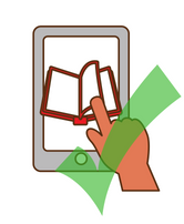 Green check mark over ebook illustration