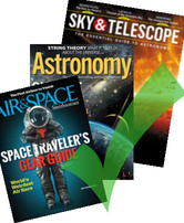 Green check mark over astronomy magazine covers