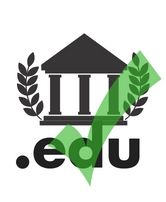 Green check mark over symbol for university