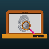 Illustration of fingerprint being searched on a laptop screen