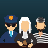 Illustration of a cop, judge, and criminal