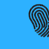 Illustration of fingerprint on a bright blue background