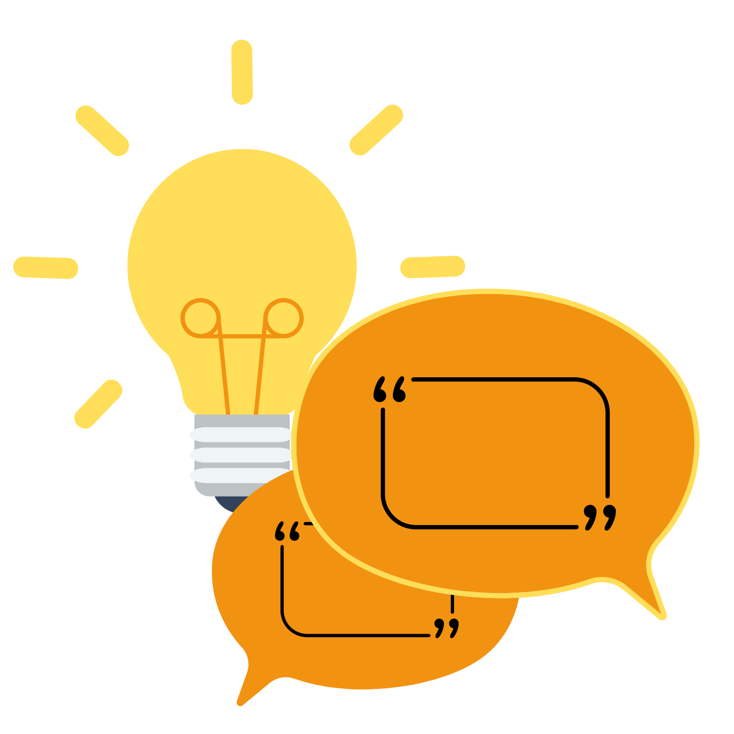 Ideas and Words (light bulb and speech bubble graphic)