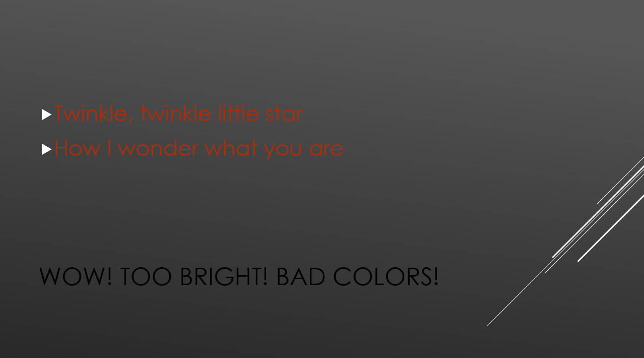 Color palette is okay but the contrast is too low using black and dark red text on top of a dark grey background.