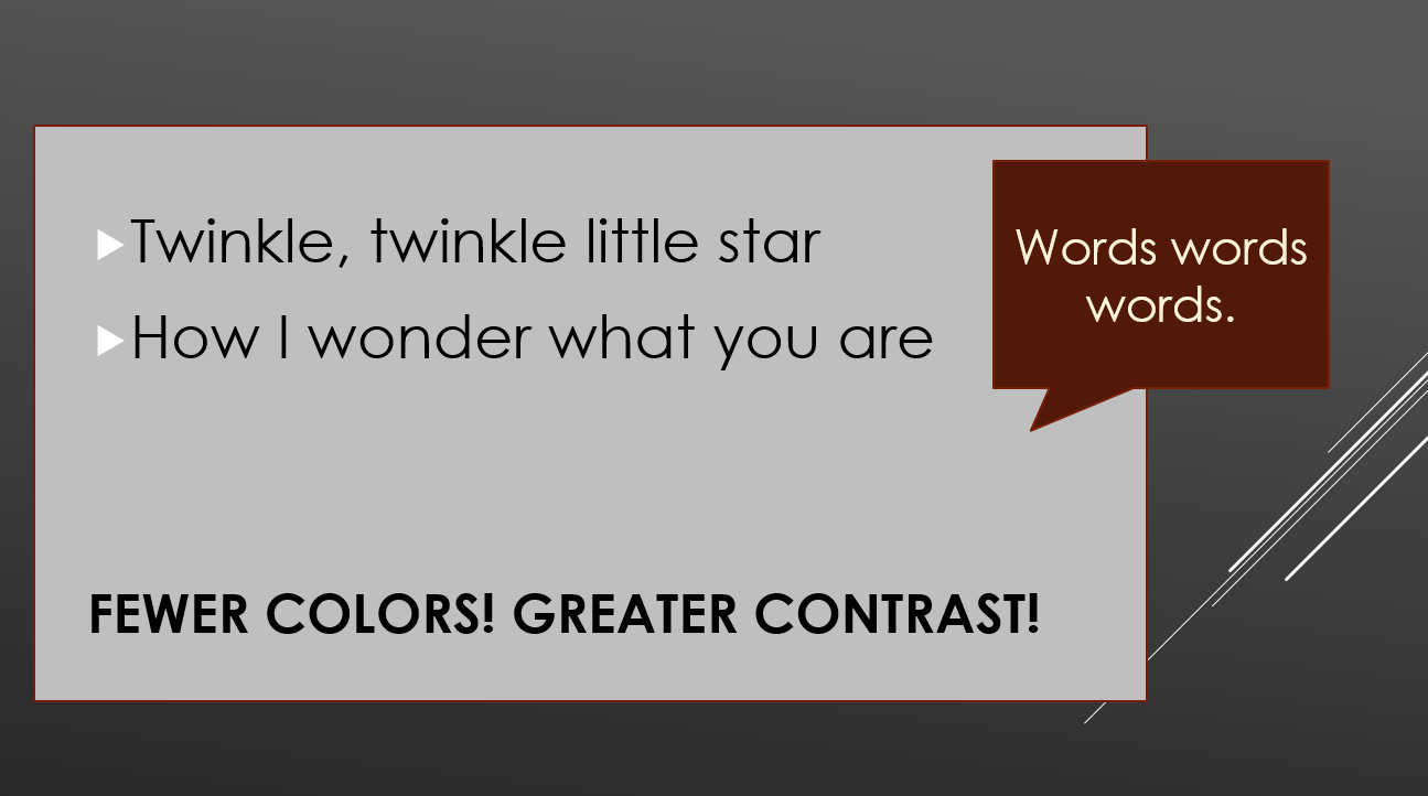Use greater contrast in colors, or use a lighter color in between the dark text and dark background,