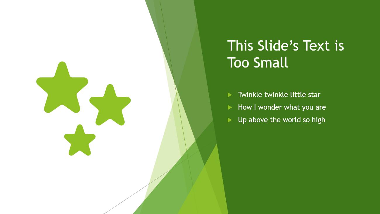 """Slide has """"Twinkle Twinkle Little Star"""" nursery rhyme as bullet points in a small font."""