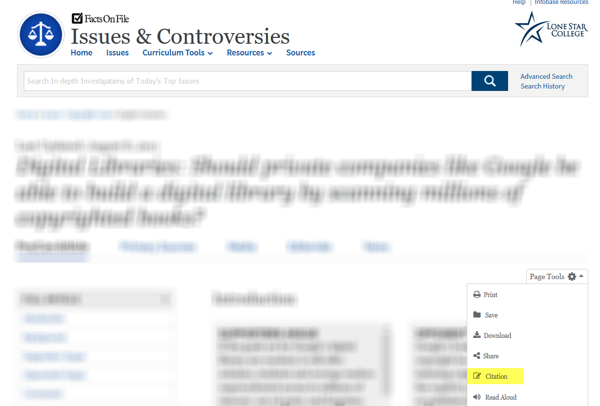 Screenshot of article page in Issues & Controversies, pointing out the page tools dropdown where the citation tool is