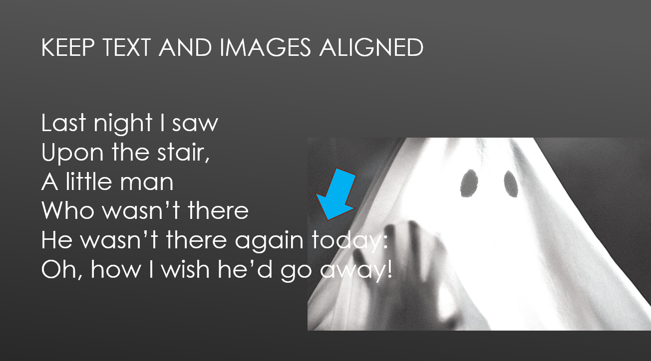 The last couple lines of text are longer than the previous four, and they end up overlapping with the slide image.