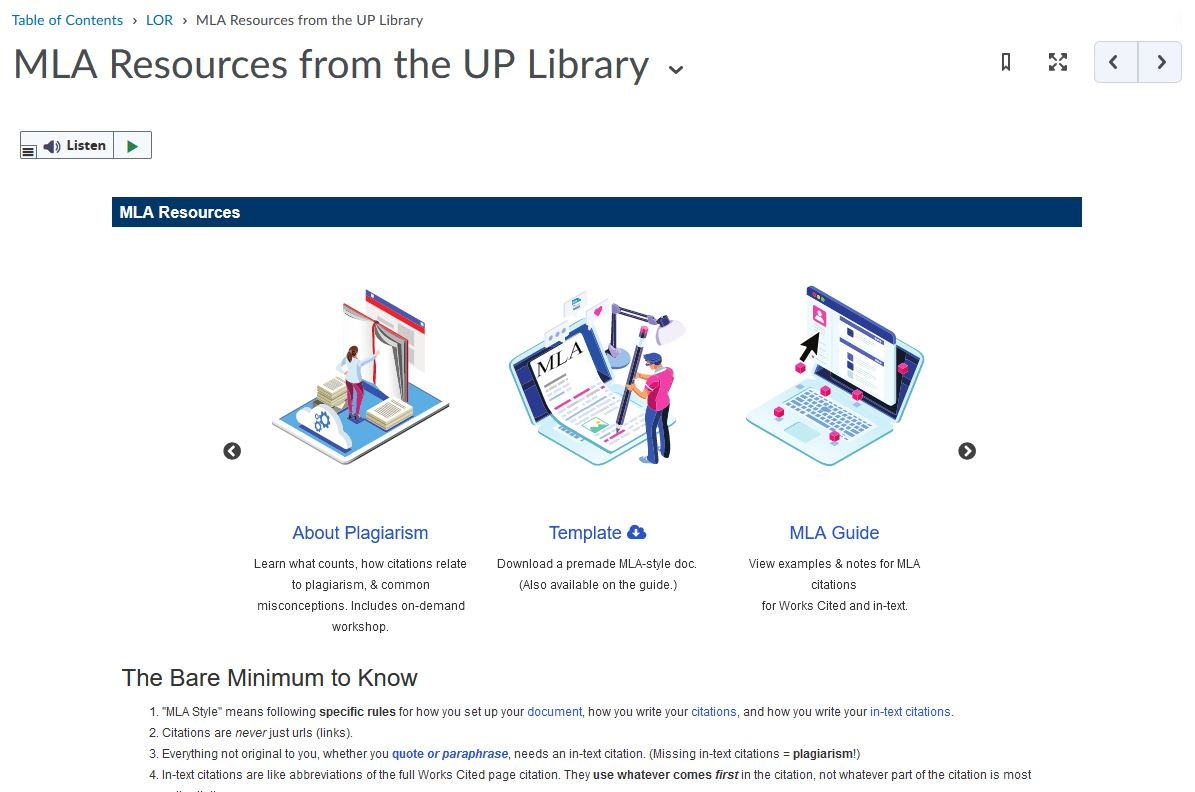 MLA resources preview
