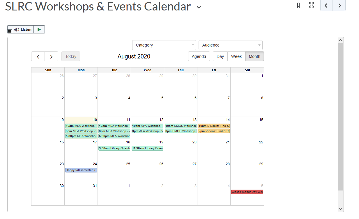 Screenshot in D2L showing August 2020 with various workshops on the calendar