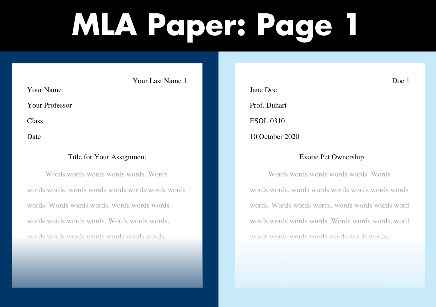 Start an MLA paper with your name, your professor's name, the class and the date, all double-spaced. One line down, centered, is the title. In the upper-right corner, in the header, is your last name with page number.