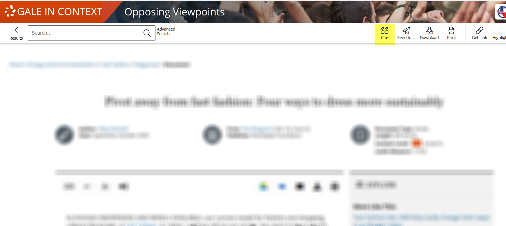 Article page in Opposing Viewpoints, mostly blurred, with the citation tool highlighted