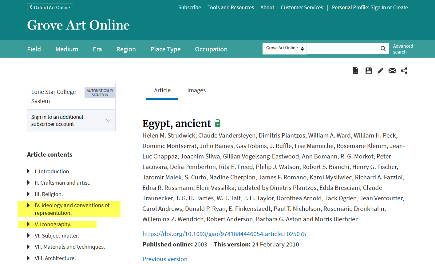 """Screenshot of an article from Oxford Art: Grove Art Online for """"Egypt, ancient."""" The article's headings are listed on the left a table of contents, and 2 headings relating to iconography are highlighted."""
