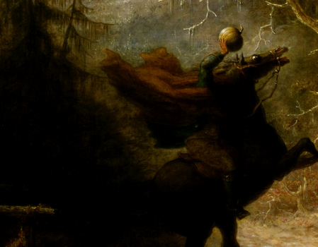 Cropped piece of John Quidor's 1858 painting of the The Headless Horseman Pursuing Ichabod Crane, showing the horseman holding up his pumpkin