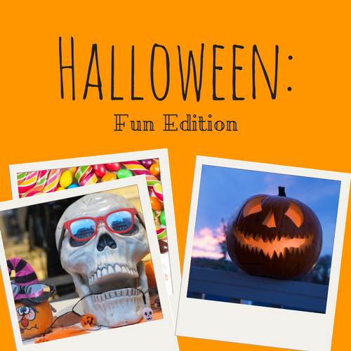 Halloween: Fun Edition playlist cover. Orange background with faux-Polaroids depicting a skull, jack-o-lantern, and candy