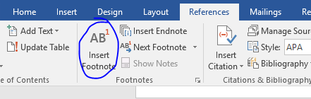 """""""Insert Footnote"""" button in Word is circled -- it's under References, in the 'footnotes' options cluster."""