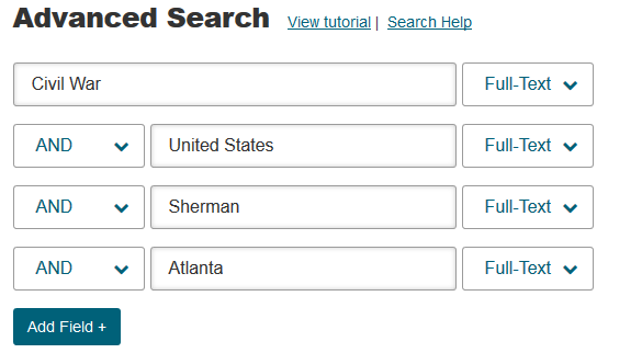 Screenshot of advanced search using multiple fields: Civil War AND United States AND Sherman AND Atlanta