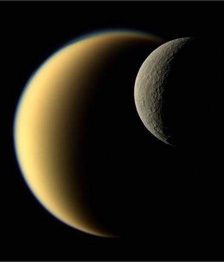 Cassini photo of Saturn's moons