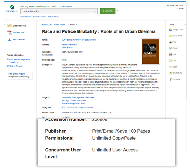 E-book license info comes at the end of the metadata in EBSCO Ebook record page.