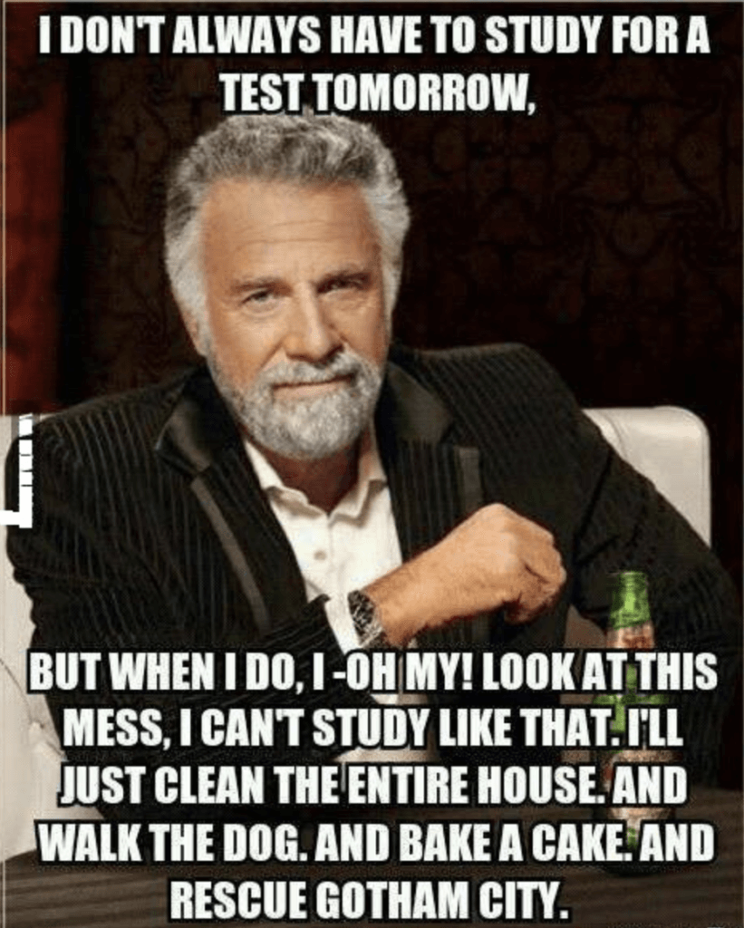 Most Interesting Man in the World meme. An elegant, grey-bearded man in a black suit is leaning on one eldbow. Caption reads: I don't always have to study for a test tomorrow, but when I do, I -- oh my! Look at this mess, I can't study like that. I'll just clean the entire house. And walk the dog. And bake a cake. And rescuse Gotham City.