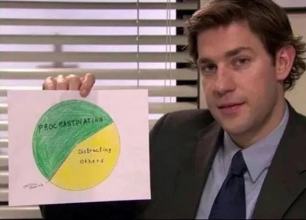 Jim from The Office holding a piece of paper with a pie chart split betweeen