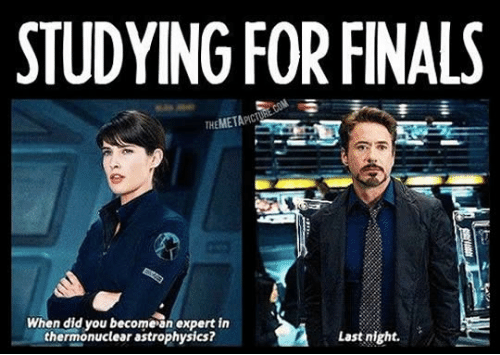 Top caption: Studying For Finals. Left image is Maria Hill from The Avengers asking,