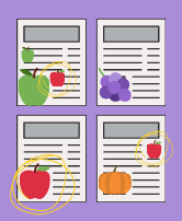 Simple illustration with article pages representing 4 different sources. Pieces of fruit are placed on each: green apples, red apples, grapes, and a pumpkin. The red apples are circled as stand-ins for a pattern.