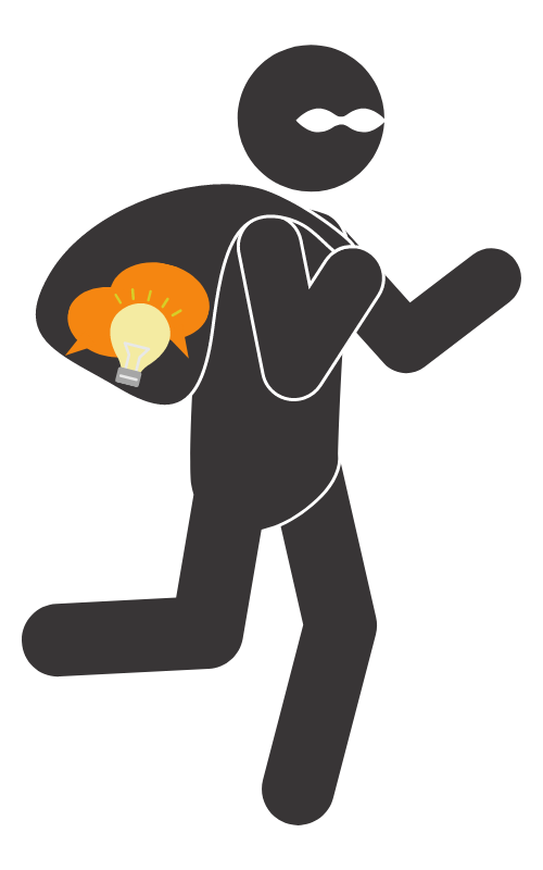 Graphic figure of a burglar running with a sack containing an icon with a lightbulb and speech bubbles
